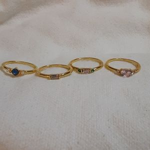 Gold-plated stackable four ring set with gems